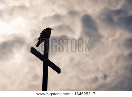 Silhouette of a crow on a wooden cross