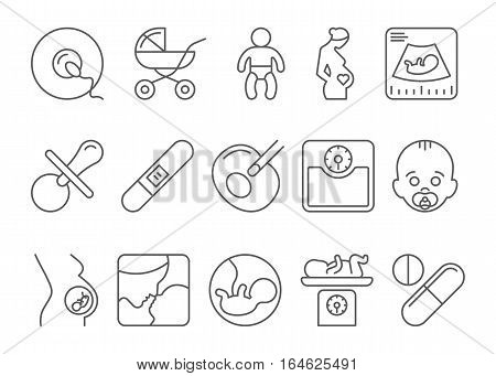 Medicine, pregnancy and motherhood vector line icons set. Baby and weighing, scales and uzi, health medical and care child, mother birth illustration poster