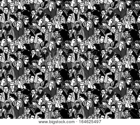 Crowd people black and white seamless pattern. Monochrome vector illustration. EPS8