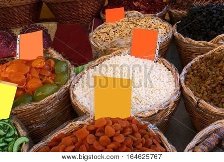 Baskets Of Dried Fruit For Sale At The Fruit Market