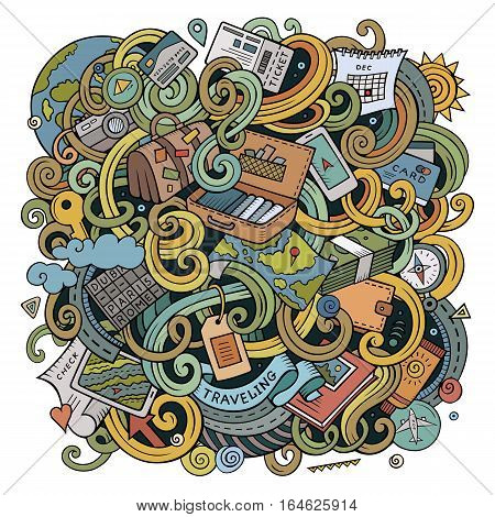 Cartoon cute doodles hand drawn traveling illustration. Colorful detailed, with lots of objects background. Funny vector artwork. Bright colors picture with travel planning theme items