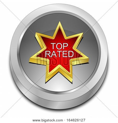 silver Top Rated Button - 3D illustration