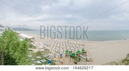 The Seaside, Black Sea Shore From Albena, Balchik, Bulgaria With Gold Sands, Sunbeds, Blue Sky, Clea