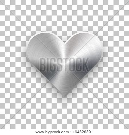 Abstract heart sign badge, Valentines day button template with brushed texture, chrome, silver, steel, realistic shadow and transparent background for web, apps. 14th february. Vector illustration.