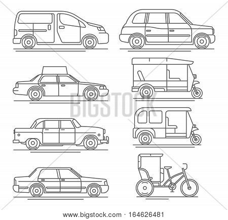 Trendy linear transport icons featuring common and exotic vehicles for hire such as taxicab, London hackney carriage cab, indian baby taxi and oriental tuk-tuk rickshaw. Thin line taxi icons