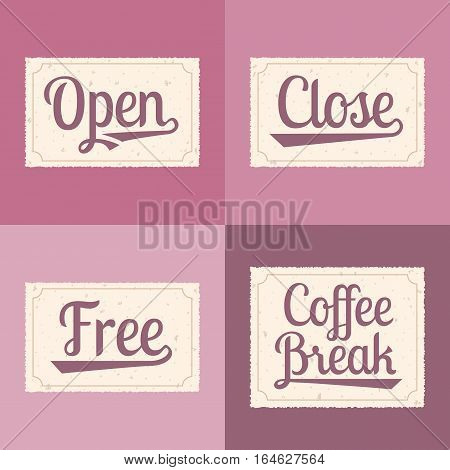 Vector open, close, free, coffee break alphabet for business hour