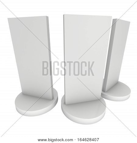 LCD Screen Stand Group. Blank Trade Show Booth. 3d render of lcd screen isolated on white background. High Resolution. Ad template for your expo design.