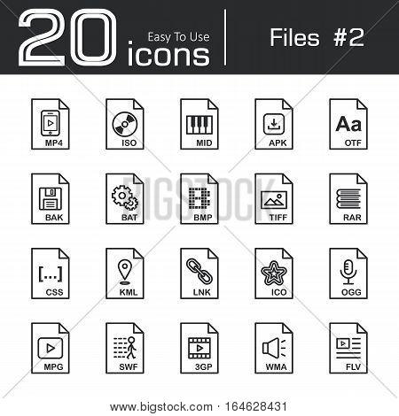 Files icon set 2 ( mp4 , iso , mid , apk , otf , bak , bat , bmp , tif , rar , css , kml , ink , ico , ogg , mpg , swf , 3gp , wma , flv )