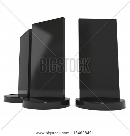LCD Screen Stand. Black Trade Show Booth Group. 3d render of lcd screen isolated on white background. High Resolution. Ad template for your expo design.