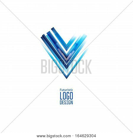 Modern abstract futuristic logo. Geometric Chek design, created with overlapping polygonal shapes. VEctor design. Triangle form. Blue color
