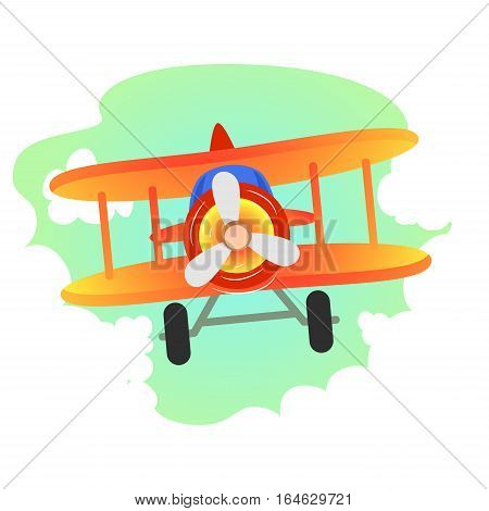 Vector Illustration of Plane Flying in the sky