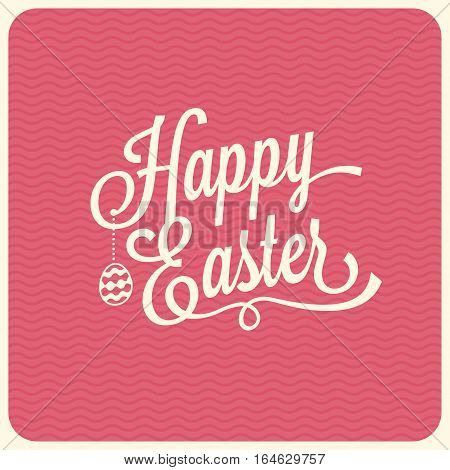 Happy easter typographical background ,pink background with  text