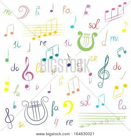 Hand Drawn Set of Music Symbols. Colorful Doodle Treble Clef Bass Clef Notes and Lyre. Sketch Style Vector Illustration.