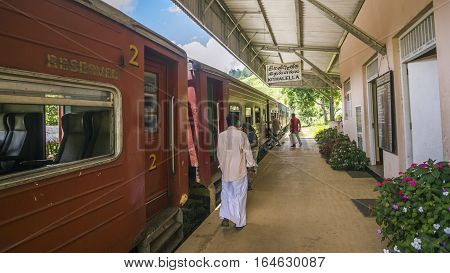 Ella, Sri Lanka - April 1, 2016: Traditional railway station in Ella, Uva province, Sri Lanka. Train from Kandy to Ella is a very famous touristic mountain trip in Sri Lanka.