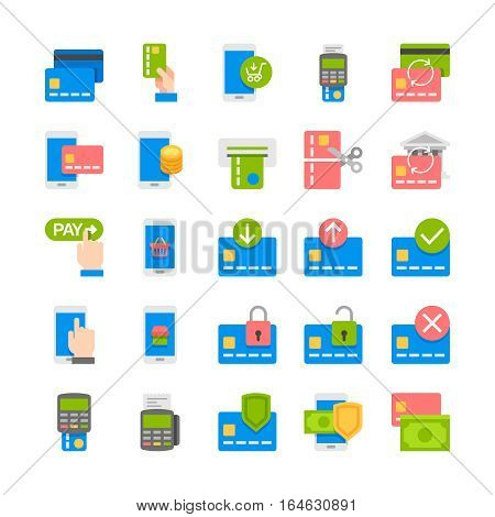 Pay online and mobile banking flat icons.