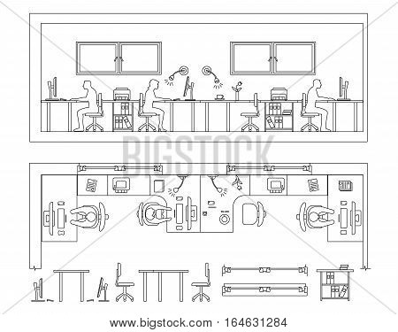 Architectural set of furniture. Design elements for plan, section, frontal view. Thin lines icons of office technics, tables, equipment, computer, people, flowers. Standard size. Vector isolated