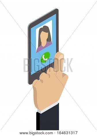 Receiving a phone call calling Caucasian woman. Isometric vector
