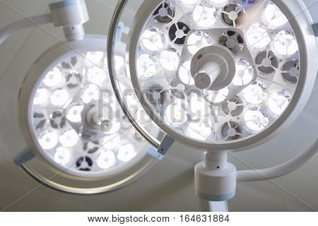 Surgery room equipment lights above the table