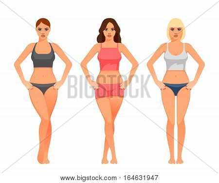 cartoon illustration of a young woman with healthy slim body.