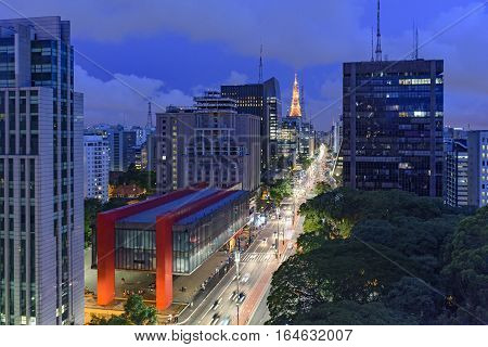 Night view of the famous Paulista Avenue financial center of the city and one of the main places of Sao Paulo Brazil