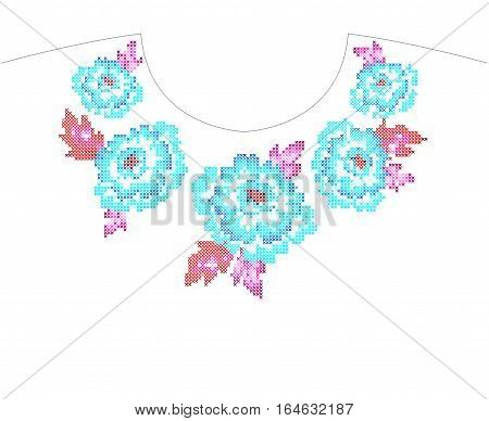 cross stitch floral embroidery for neckline with roses and folk flowers. vibrant x thread sewing.