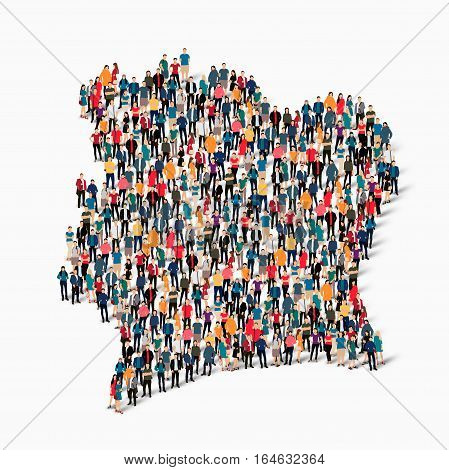 Isometric set of styles, people, map of Ivory Coast , country, web infographics concept of crowded space, flat 3d. Crowd point group forming a predetermined shape. Creative people. Vector illustration. Photo vector.3D illustration. White background . Isol