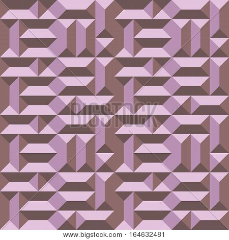 Seamless geometric architectural pattern. Convex metallic texture with rectangular and square pyramids. Rosy brown colored background. Vector