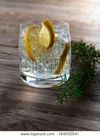 Gin With Lemon ,juniper And Ice