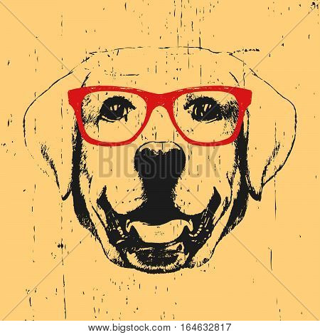 Portrait of Labrador with glasses. Hand drawn illustration. Vector.