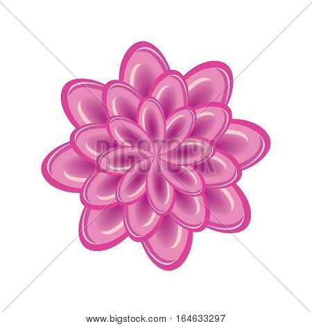 Flower icon. Unusual glass chrysanthemum. Floral astract composition. Blue three dimensional sign on white background. Vector isolated