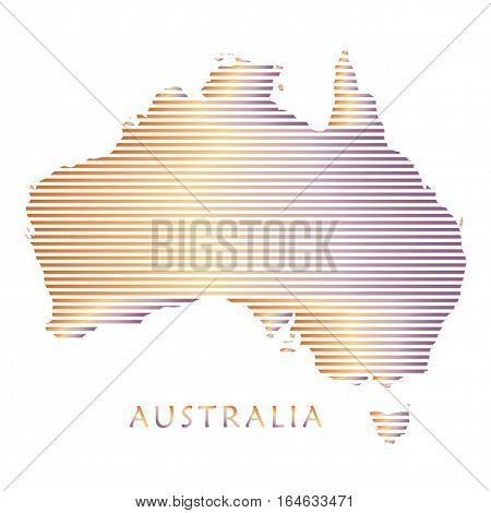 Australia map with stripped pattern isolated on white background. Australian map illustration for Holiday cards, advertising, travel, web banners design. Vector illustration.