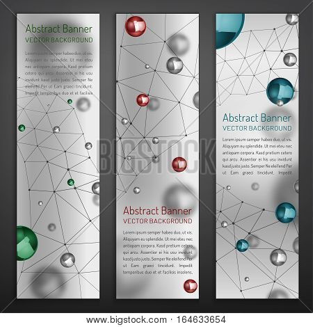 Digital banners with silver, red and blue metallic particles and molecular structure. Abstract molecules design. Medical scientific backgrounds for vertical banner or flyer. Vector illustration.