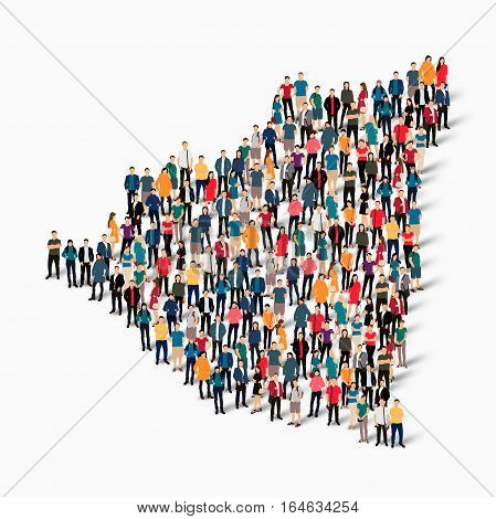 Isometric set of styles, people, map of Nicaragua , country, web infographics concept of crowded space, flat 3d. Crowd point group forming a predetermined shape. Creative people. Vector illustration. Photo vector.3D illustration. White background . Isolat
