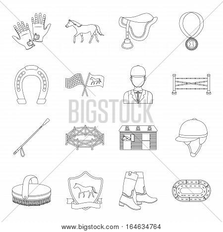 Hippodrome and horse set icons in outline design. Big collection of hippodrome and horse vector symbol stock illustration