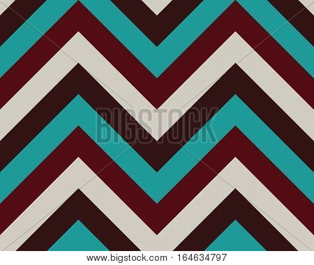 Striped, zigzagging seamless pattern. Zig-zag line texture. Stripy geometric background. Brown, turquoise, gray contrast colored. Winter theme. Vector