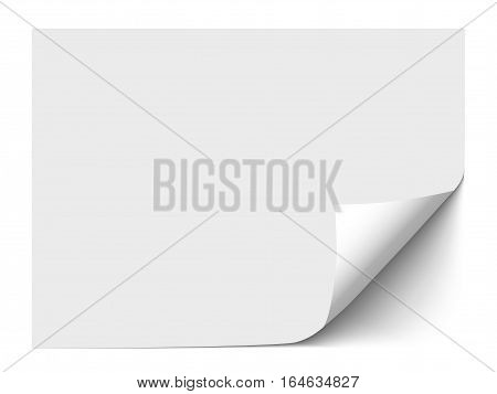 Horizontal sheet of paper with curl bottom corner isolated on white background. Realistic vector template paper with space for text