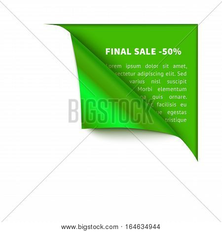 Realistic vector white paper which gets rolled up. Paper curled corner on green background. Template for eco design, green.