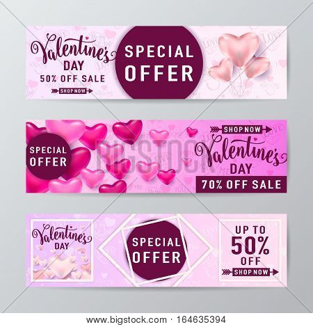 Vector illustration of valentines day sale banner set with heart balloons, rhombus line and round frame and lettering text sign special offer, up to 50 percent off