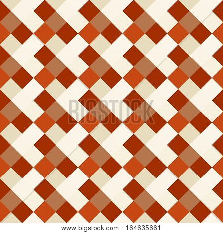 Seamless geometric checked pattern. Diagonal square, braiding, woven line background. Patchwork, rhombus, staggered texture. Orange, beige, brown colors. Winter theme. Vector