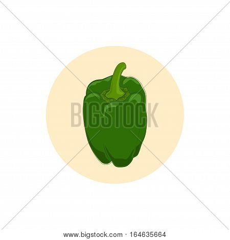 Icon green bell pepper, icon sweet pepper, capsicum