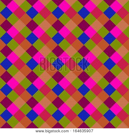 Seamless geometric checked pattern. Diagonal square, braiding, woven line background. Patchwork, rhombus, staggered texture. Baby, festival, clown, holiday colors. Vector