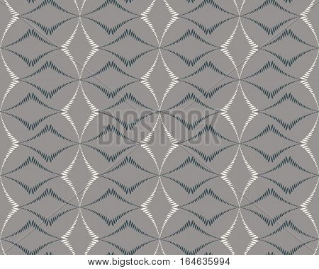 Seamless geometric abstract pattern. Diagonal rhomb shaped, braiding figure texture. Unusual rhombus bands, lines on gray background. Vector