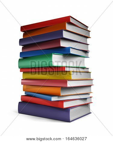 Pile of book isolated on white background, 3d illustration