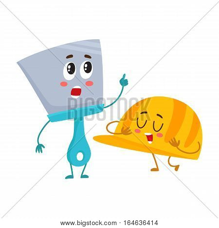 Funny hand trowel pointing up and helmet, hard hat, building, repair tool characters, cartoon vector illustration isolated on white background. Comic style trowel character and orange helmet, hardhat