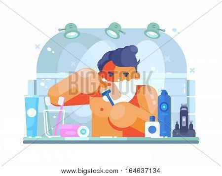 Man in bathroom with razor shaves face morning. Vector flat illustration
