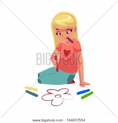 Little girl sitting on the floor and drawing flowers with colorful crayons, cartoon vector illustration on white background. Pretty little girl drawing with crayons sitting on the floor