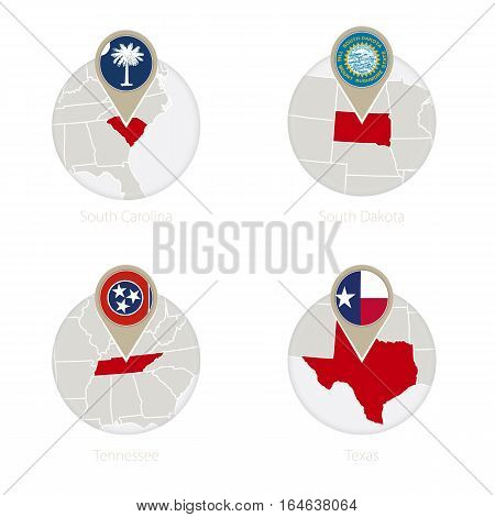 Us States South Carolina, South Dakota, Tennessee, Texas Map And Flag In Circle.