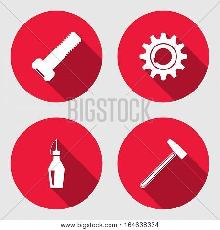 Tool icon set. Cogwheel, hammer, wrench key bolt nut. Repair fix symbol. Round circle flat sign with long shadow. Vector illustration