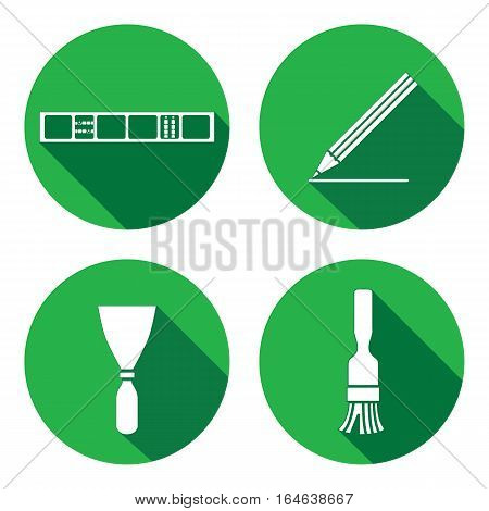 Tool icons set. Spattle, brush, surfacer, plastering instrument. Painting device. Work, job, labour, toil, repair, building symbol. White sign on round button with long shadow. Vector isolated