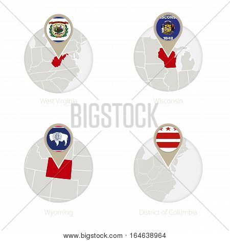 Us States West Virginia, Wisconsin, Wyoming, District Of Columbia Map And Flag In Circle.